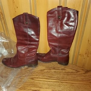FRYE BUTTON TALL LEATHER WESTERN BOOTS